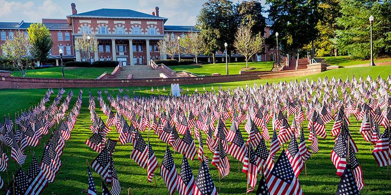Flag display for Veterans Day